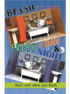 Poster English Brush Your Teeth Every Day & Night - 001